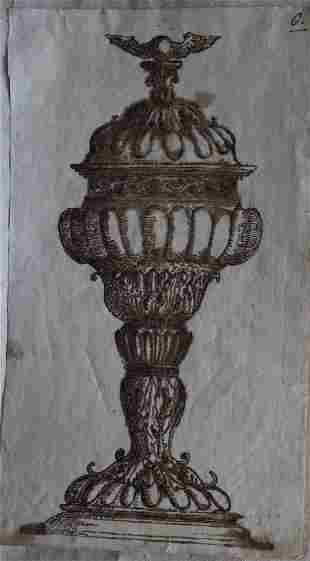 German School 16th Century, Design for a goblet, black