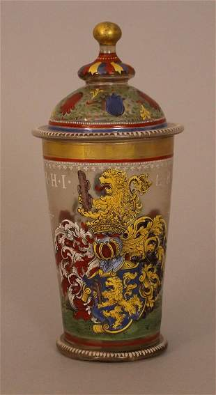 German glassbaker with lid, round form with rich
