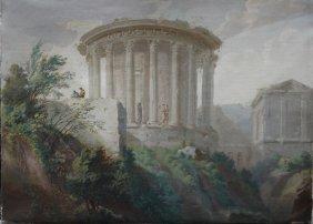 Marco Ricci (1676–1730)-follower, View Of A Round Roman