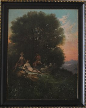 Artist 19th Century, Idyllic Landscape With Pan And