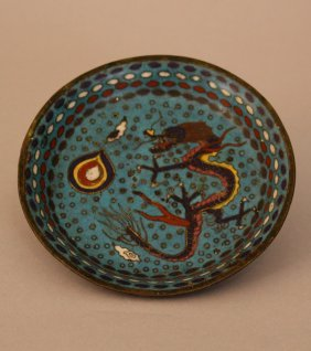 Cloisonne Enamel Dish With Dragon And Several