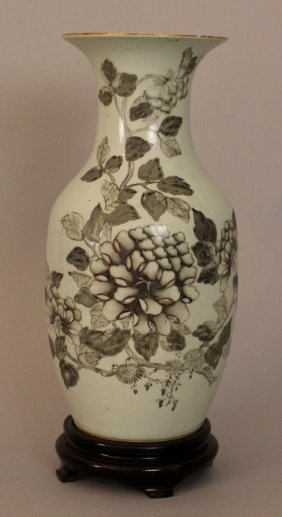 Chinese Porcelain Vase With Thin Neck , Painted With