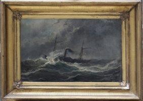 Josef Carl Berthold Püttner(1821-1881) Steam Ship In