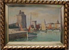 Artist decole provencale Harbour view oil on canvas