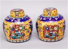 Pair of Chinese Cloisoné vases, round form with lids,