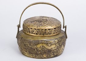 Chinese Bronze Pot With Lid And Handgrip, Casted And