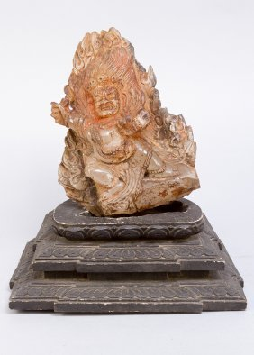 Tibetian Or Burmese Godness Carved From Rock Crystal