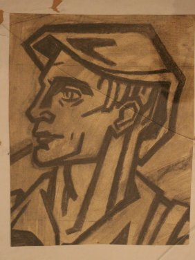 Russian Woodcut Around 1920, Portrait Of A Worker , On