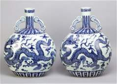 a Pair of Chinese Large Porcelain Flasks in Wan Li