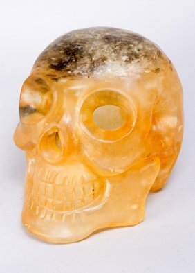 Large Skull Head Naturalistic Carving Of Rock Crystal