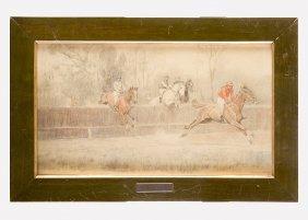 Ludwig Koch (1866-1934), Jockey Race, Black Chalk And