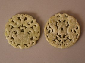 Two Chinese Round Jade Relieffs With Open Work And