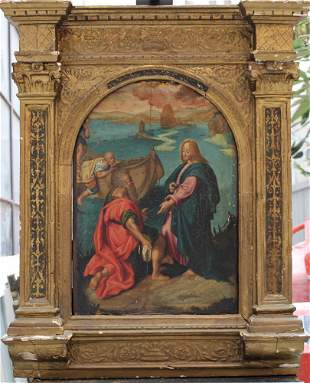Orazio Samacchini (1532-1577)-studio, Jesus with Saint