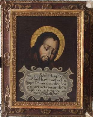 Spanish School 17th Century, Portrait of Saint