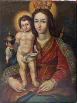 Flemish School around 1700, Maria with Jesus, oil on