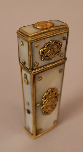 French Necessaire Cover; Gilded Bronze Mantel With