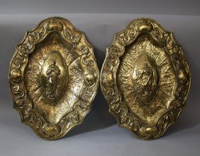 Pair Of Neapolitan Bronze Plates In Shaped Form With