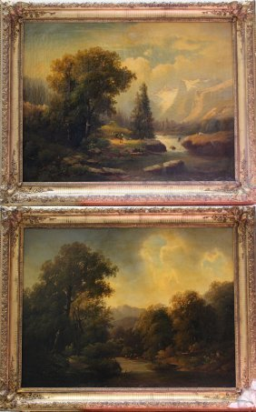 Anton Bayer (1805-after 1884), Pair Of Landscapes