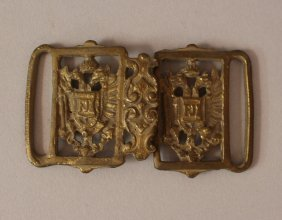 Austrian Bronze Belt Backlet With Two Austrian Eagles