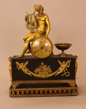Empire Clock With Hermes And The Lyra On Top, Bronze