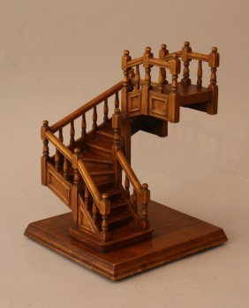 Wooden Modell Of A Staircase With Three Sections And 15