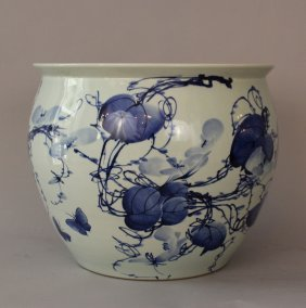 Chinese Porcelain Bowl With Blue Painted Decorations On
