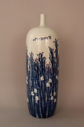 Chinese Porcelain Vase With Painted Flower Decorations,