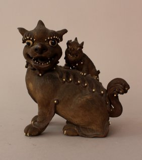 Asian Terracotta Female Lion With Child; Hand Sculpted