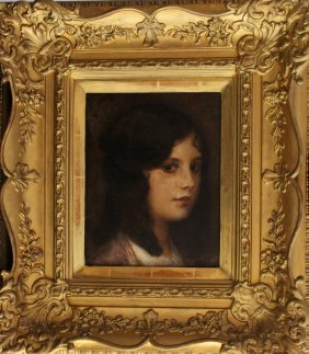Eduard Veith (1858-1925), Portrait Of A Young Girl, Oil