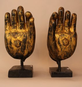 Pair Of Asian Buddha's Hands, Naturalistic Wood Carving