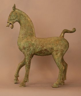 Archaic Bronze Horse With Long Legs And Neck, In