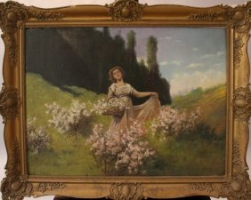 Antal Neogrady (1861-1942), Spring Time; Oil On Board;