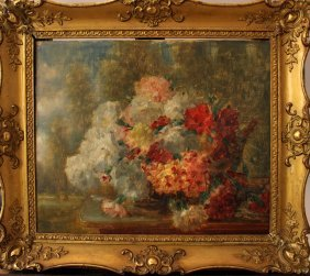 French School 19th Century, Flowers In Landscape, Oil