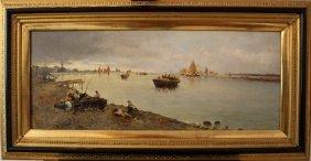 Giuseppe Pogna (1845-1907), The Lagune With Venice; Oil