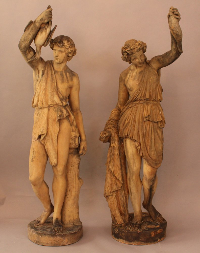 A pair of Vienna terracotta sculptures of a classical