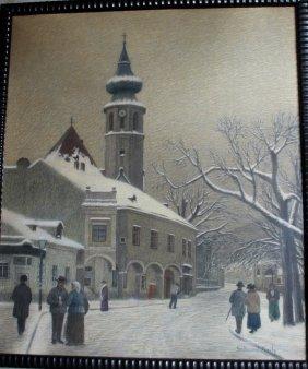 Ferdinand Zach (1868-1956), Vienna Street Winter In