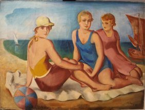 František Viktor Mokrý (1892-1975), Three Girls By