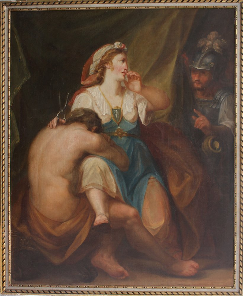 18th century samson and delilah oil