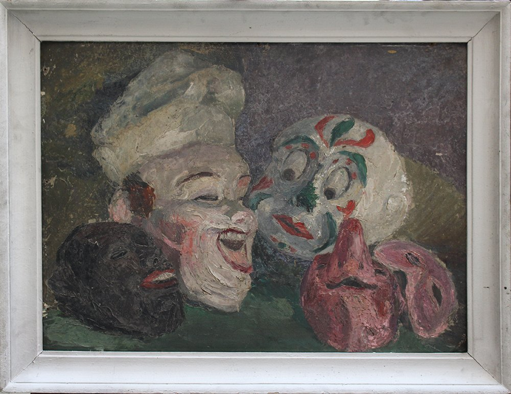 James Ensor (1860-1949)-attributed, Four masks on a