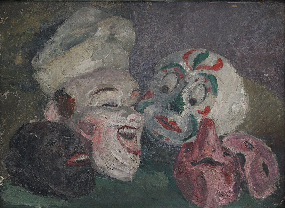 James Ensor (1860-1949)-attributed, Four masks on a - 2