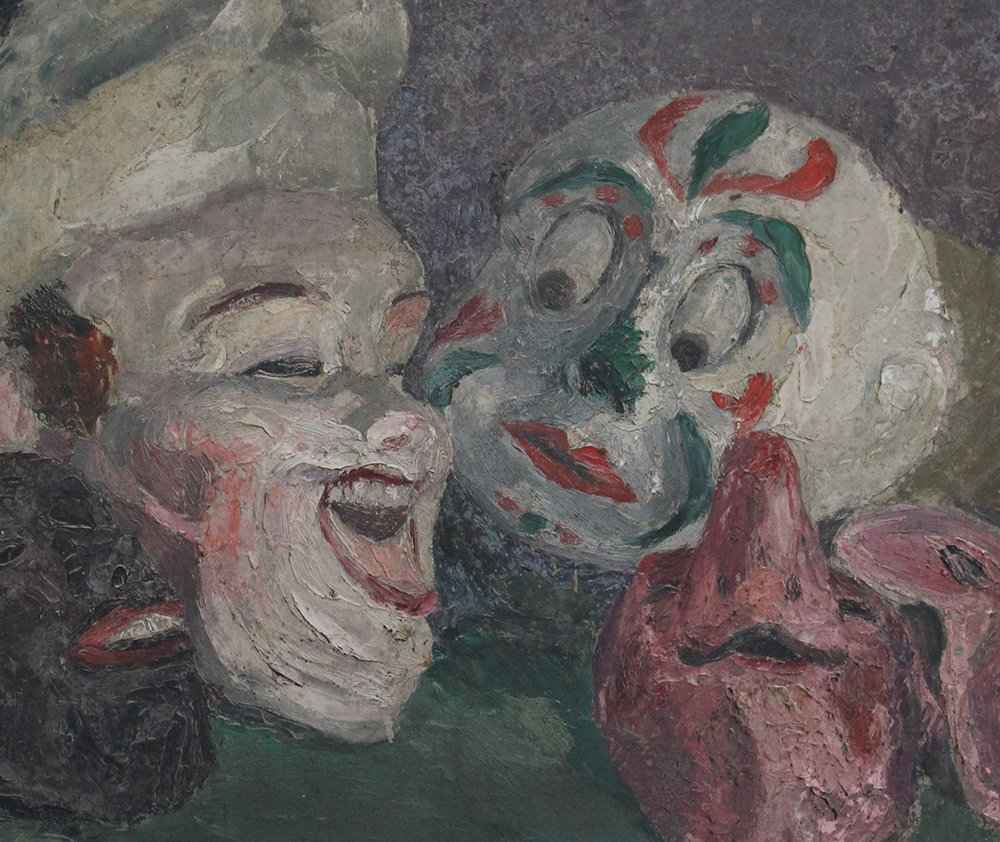 James Ensor (1860-1949)-attributed, Four masks on a - 3