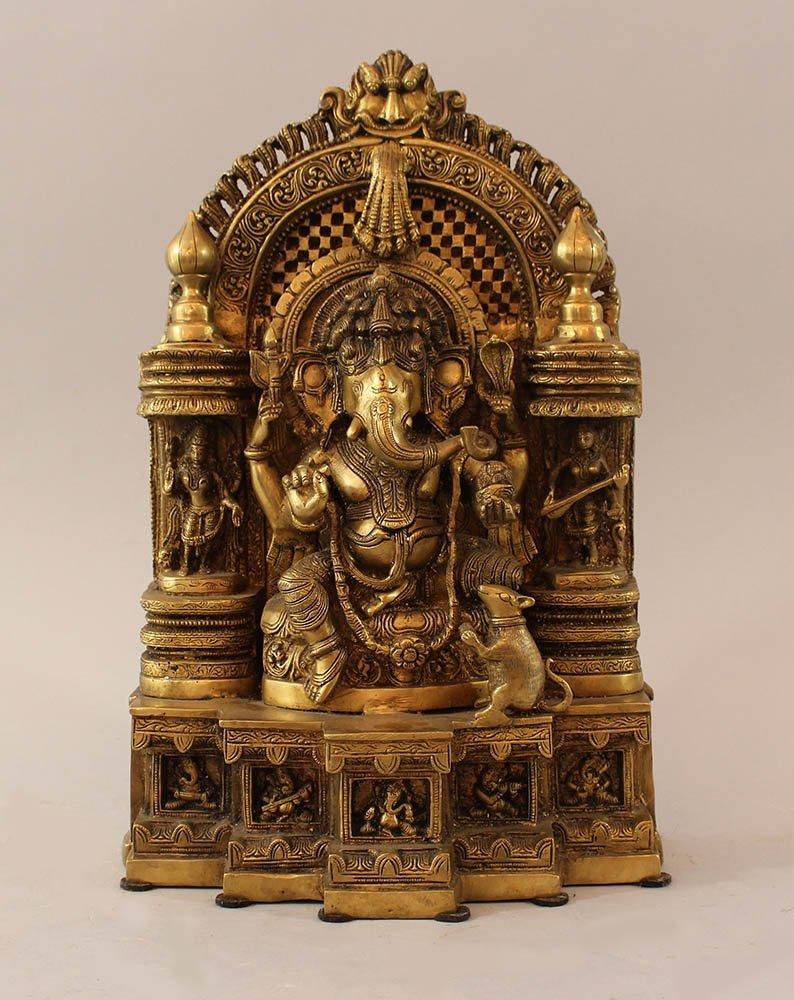 Indian bronze altar group with elephant godness, rat,