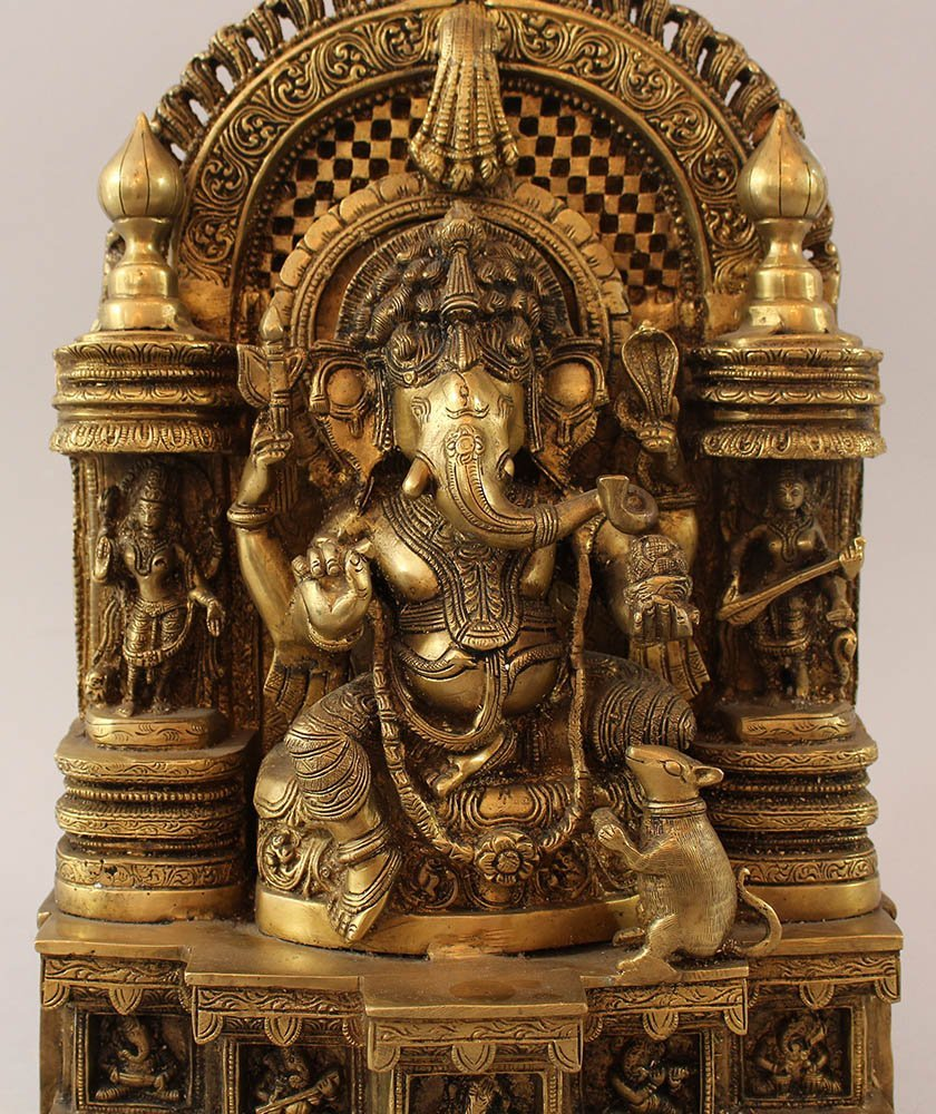 Indian bronze altar group with elephant godness, rat, - 2