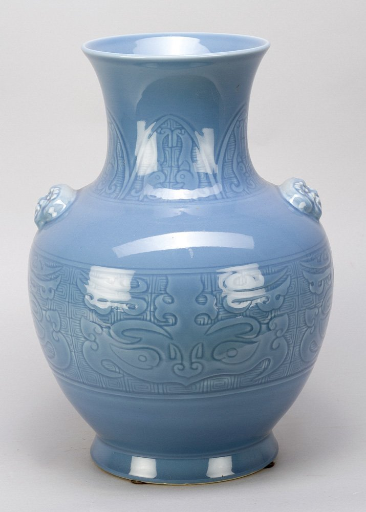 Blue Seladon Vase with ornmanets in relieff technic,