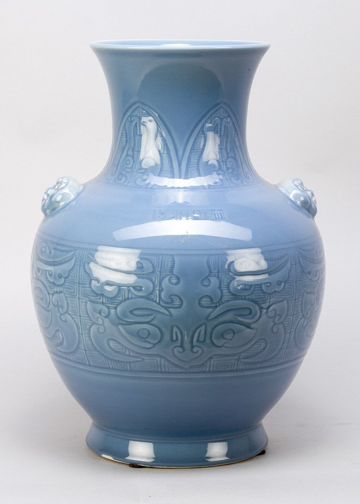Blue Seladon Vase with ornmanets in relieff technic, - 2