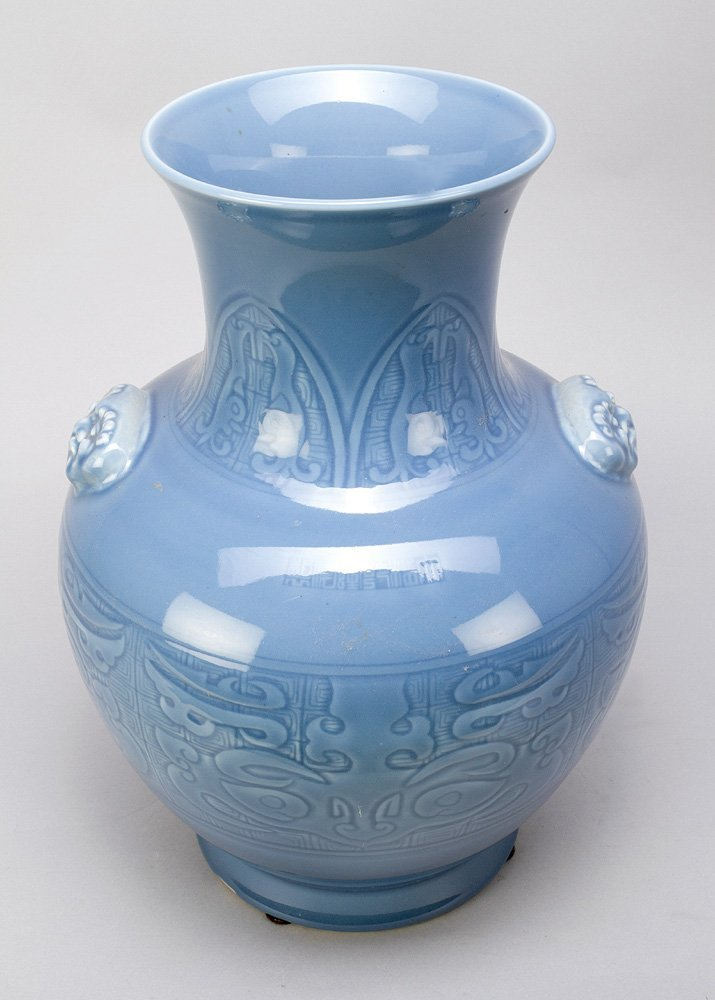 Blue Seladon Vase with ornmanets in relieff technic, - 3