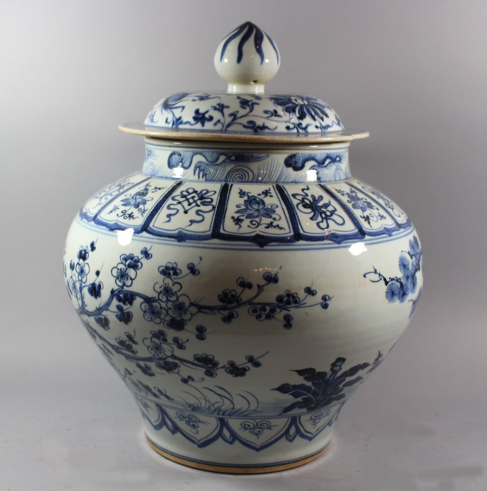 Chinese Porcelain Vase with Porcelian lid in Ming - 2