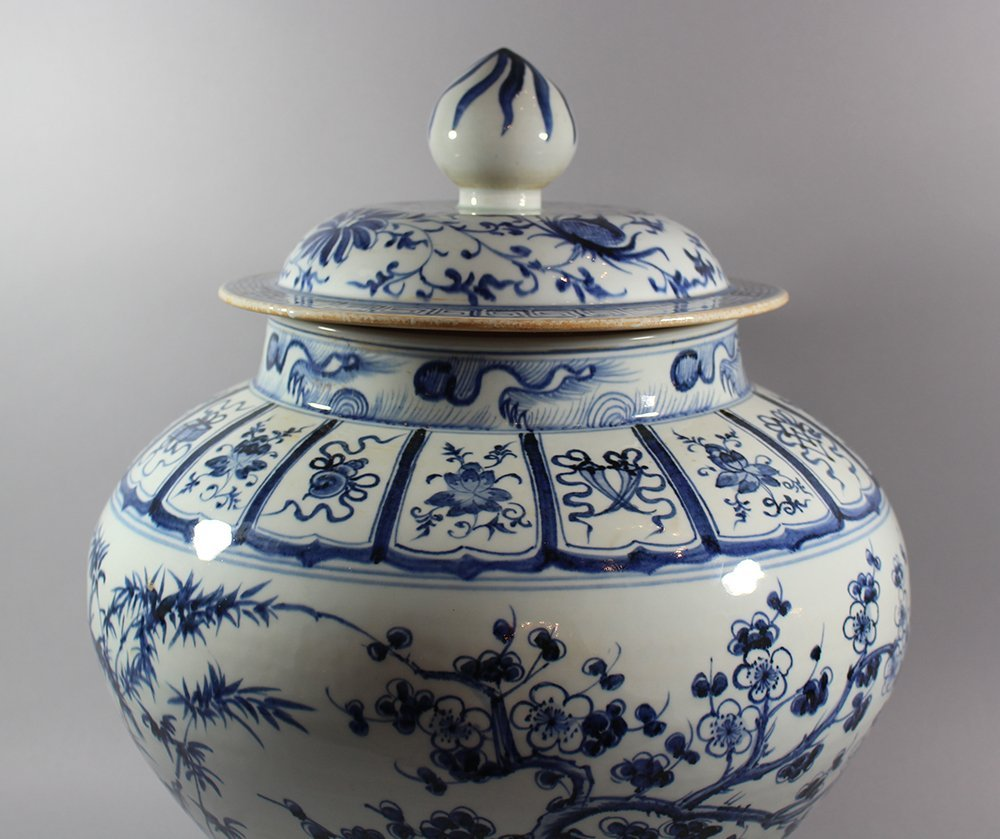 Chinese Porcelain Vase with Porcelian lid in Ming - 3