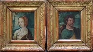 Jan van Eyk (1390-1441)-follower, Pair of paintings of