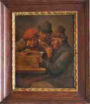 Adriaen Brouwer (1605-1638)-school, Three men reading